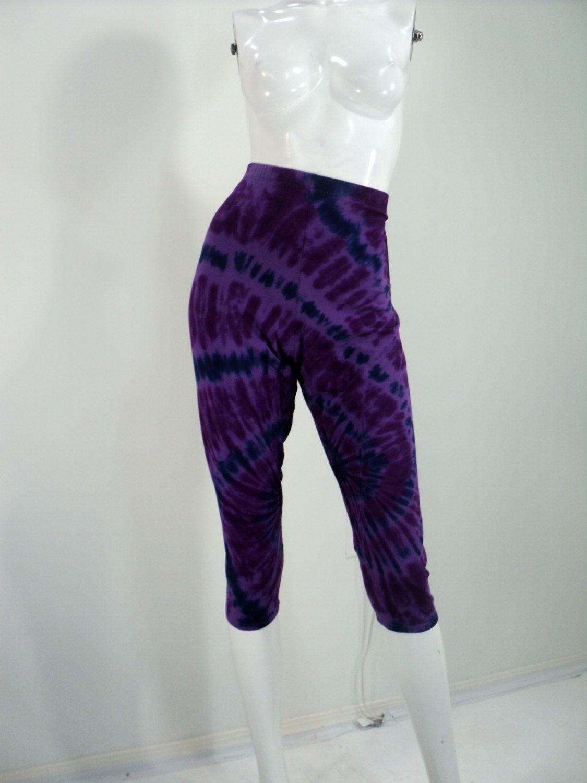 Plus size 2X purple tie dye capri leggings. by qualicumclothworks ...