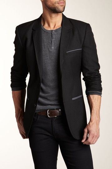 0ed588a46719 Black blazer w/ charcoal accessories, grey half-button collarless shirt,  brown belt and navy skinny jeans