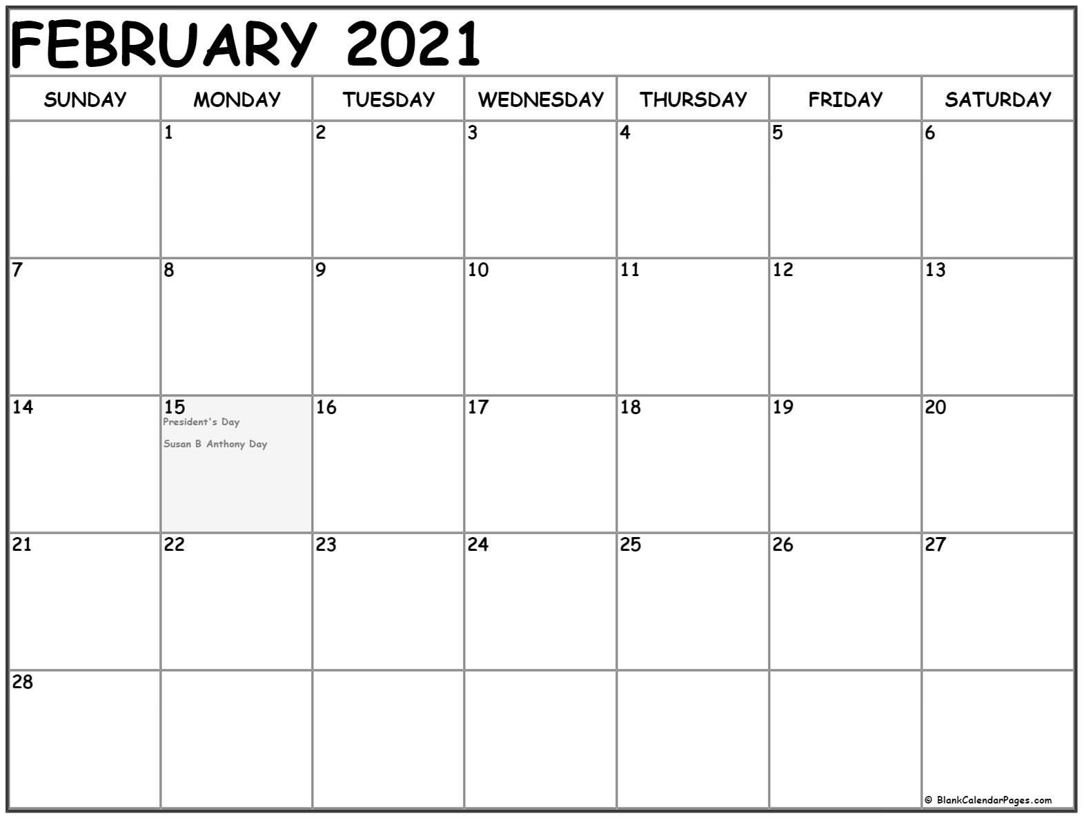 2021 February Calendar United States In 2020 February Calendar Monthly Calendar Printable Free Printable Calendar Monthly