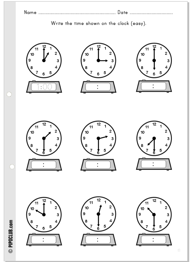 Telling time clock clock hour kids – Time for Kids Worksheets