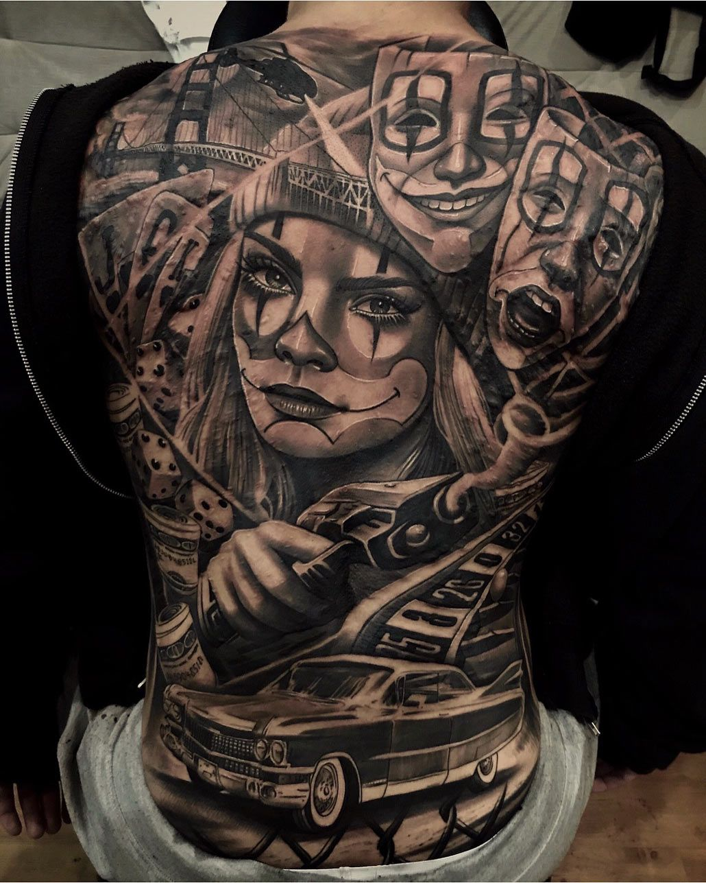 Clown Crime | Back tattoos for guys, Gangster tattoos ...