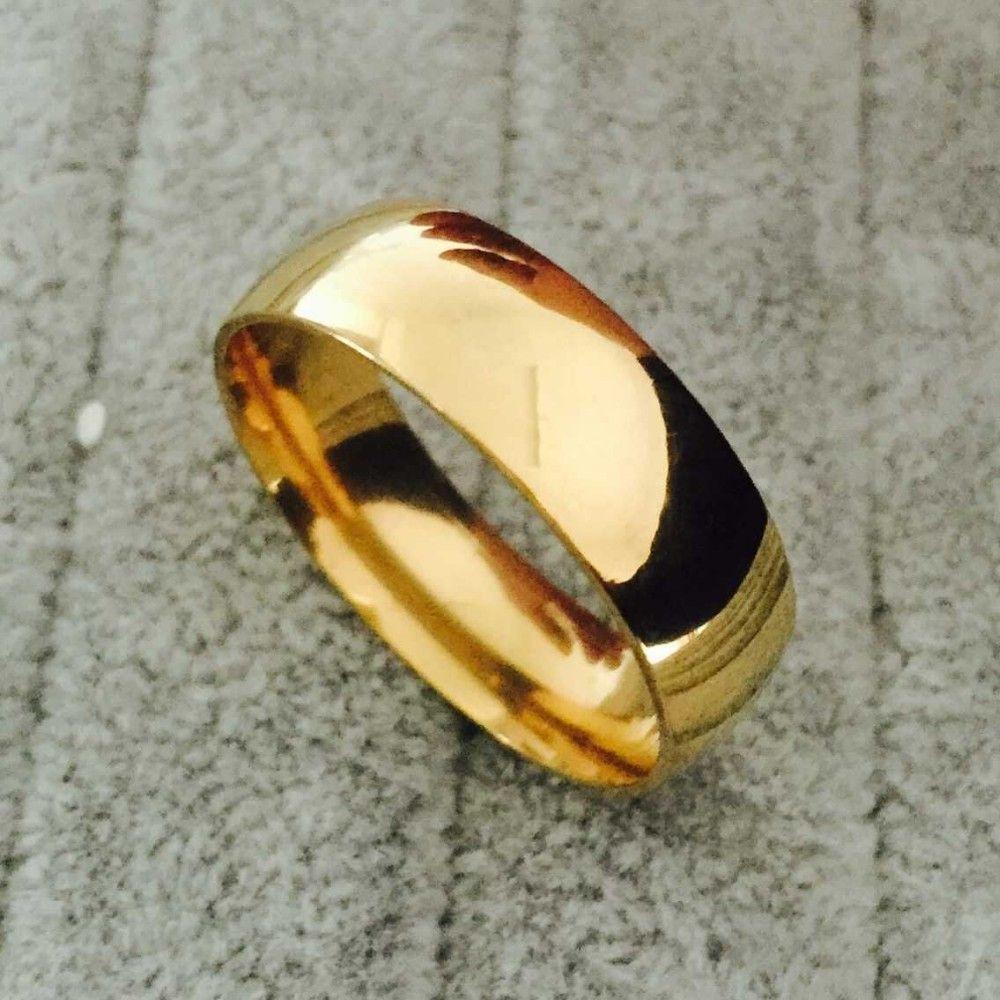 Beliebte qualität Vintage gold überzogene ring hochzeit verlobungsringe für frauen/männer edelstahl schmuck Freies einkaufen