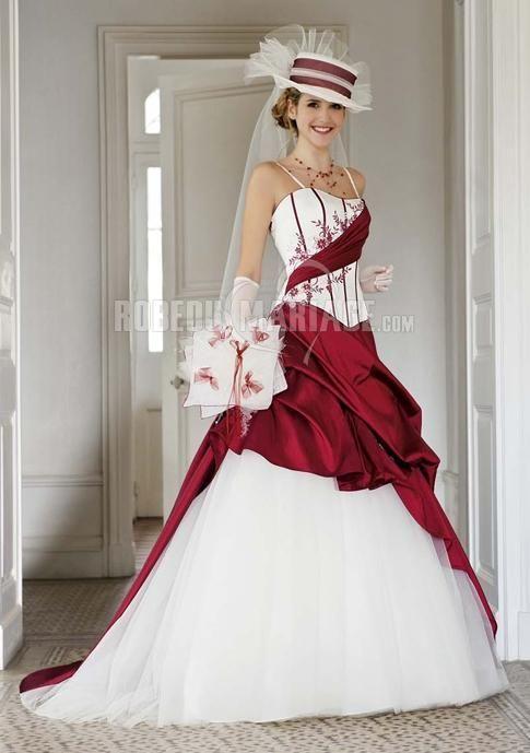 Robe de mariée 2016 couleur appliques bretelles fines en satin tulle  [ROBE2010795] ,
