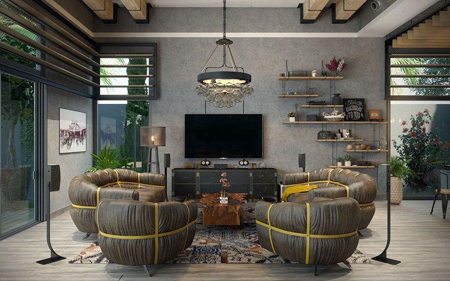 pictures industrial astounding chic living room decor | Arredamento Stile Industriale per Loft: 30 Idee dal Design ...