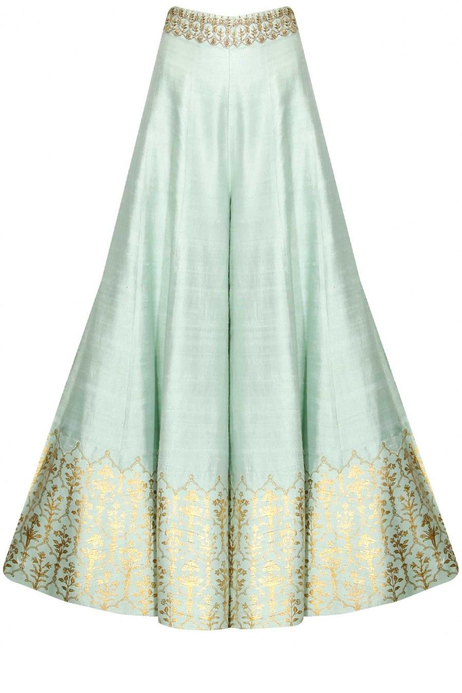 Mint Green Sharara Set In 2018 A South Asian 3 Pinterest Meitaviamp039s Kulot Denim Midi Culottes This Features Anarkali Kurta Dupion Base With White Yellow Flowers Embroidery On The Yoke Sleeves Of