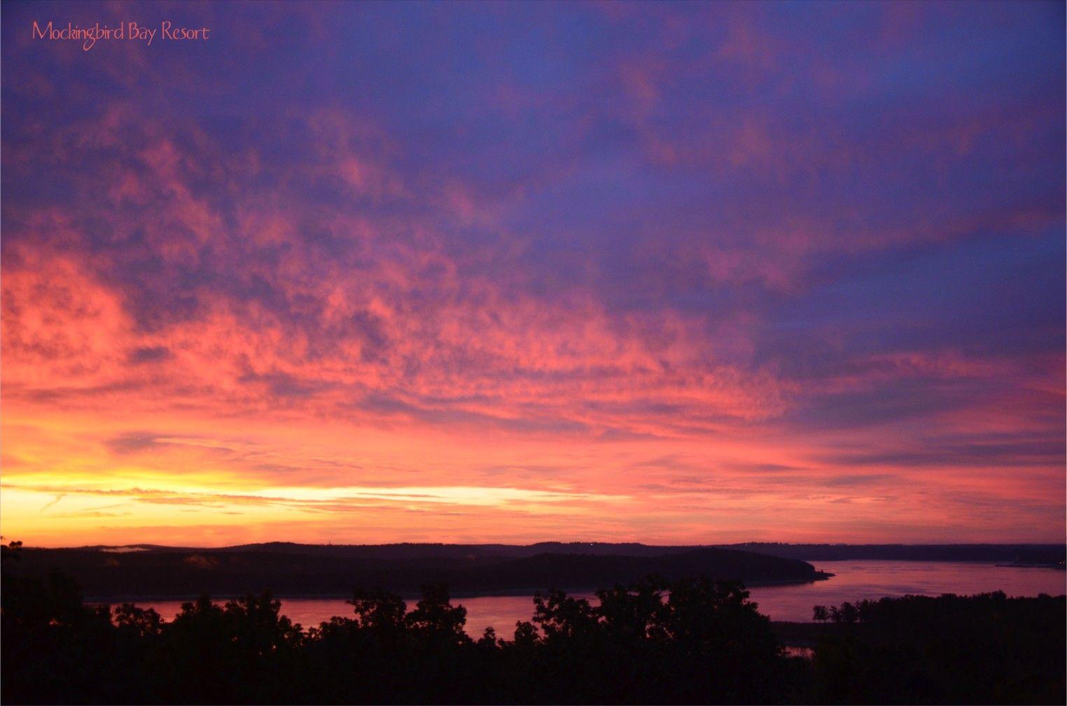 Morning sunrise over norfork lake mockingbird bay resort