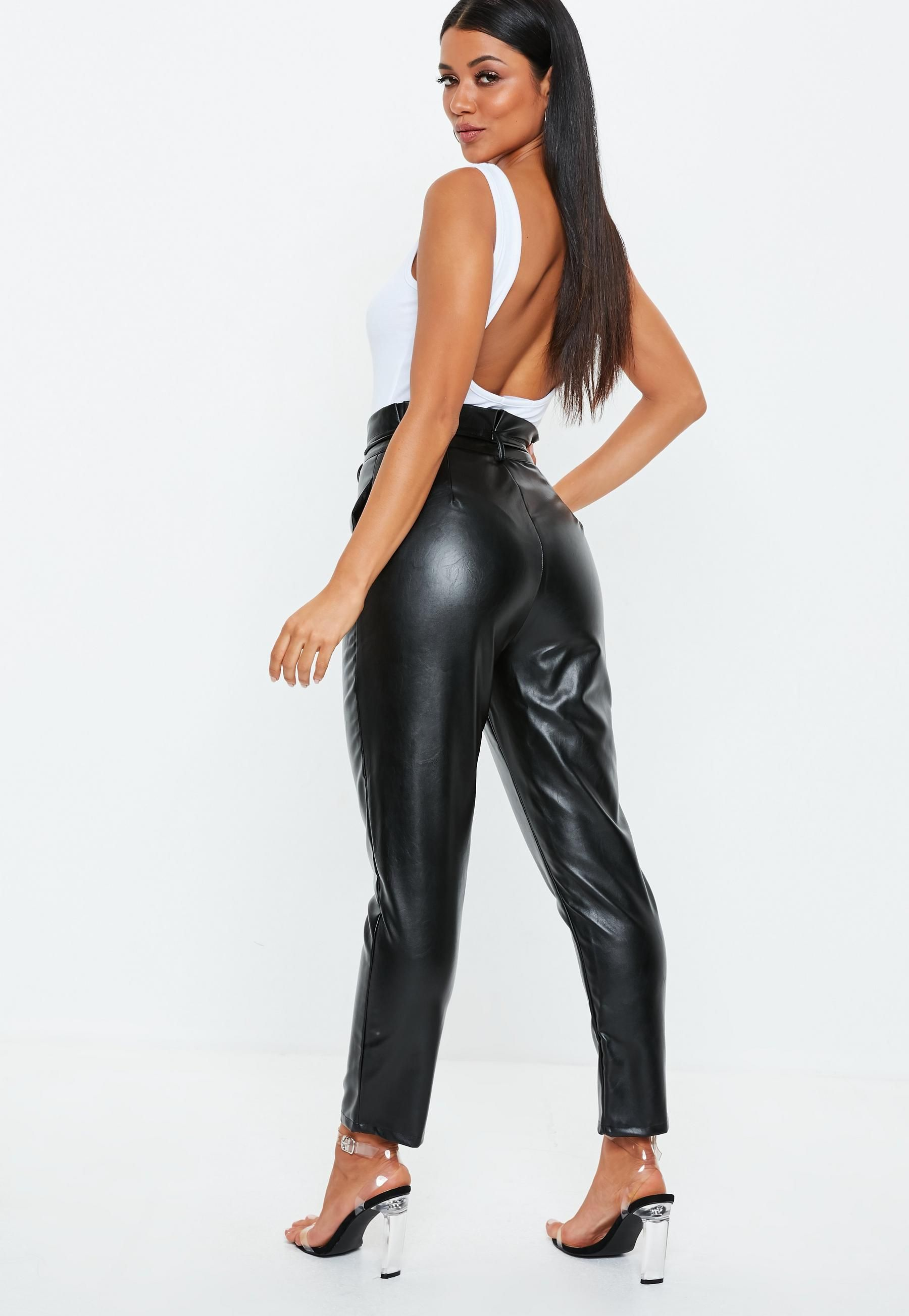 good texture exceptional range of styles and colors unequal in performance Black Paperbag Tie Waist Faux Leather Trousers | Missguided ...
