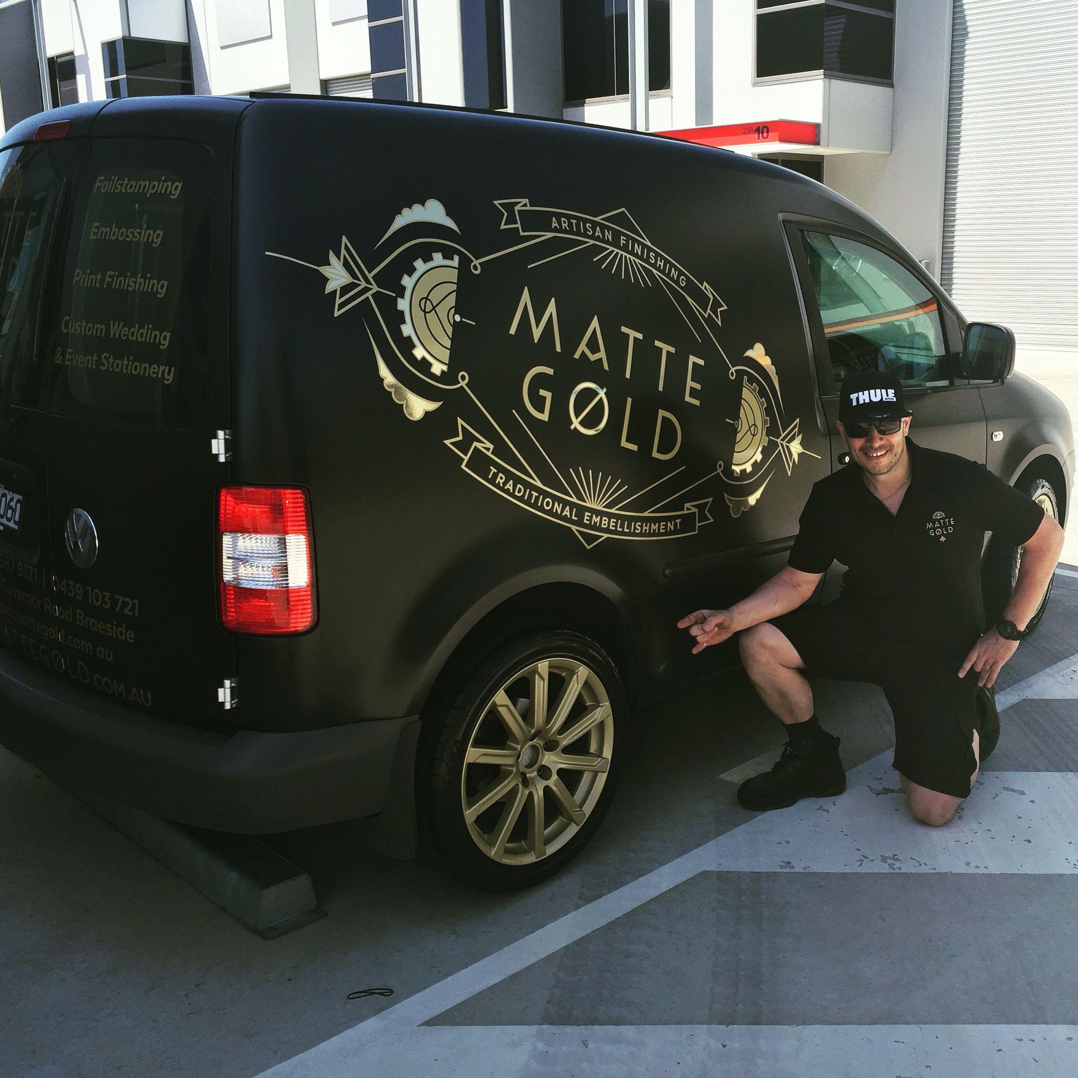 "My work van || 2005 Caddy || satin black wrap || custom vinyl metallic graphics || Audi 18"" custom gold paint rims -/-/-/- just waiting for the airbags..."