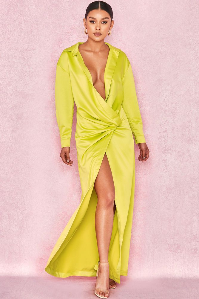 6fe0c5fa249 HOUSE OF CB  Castana  Lime Green Shirt Maxi Dress M 10   12 SS 13378   fashion  clothing  shoes  accessories  womensclothing  dresses  ad (ebay  link)