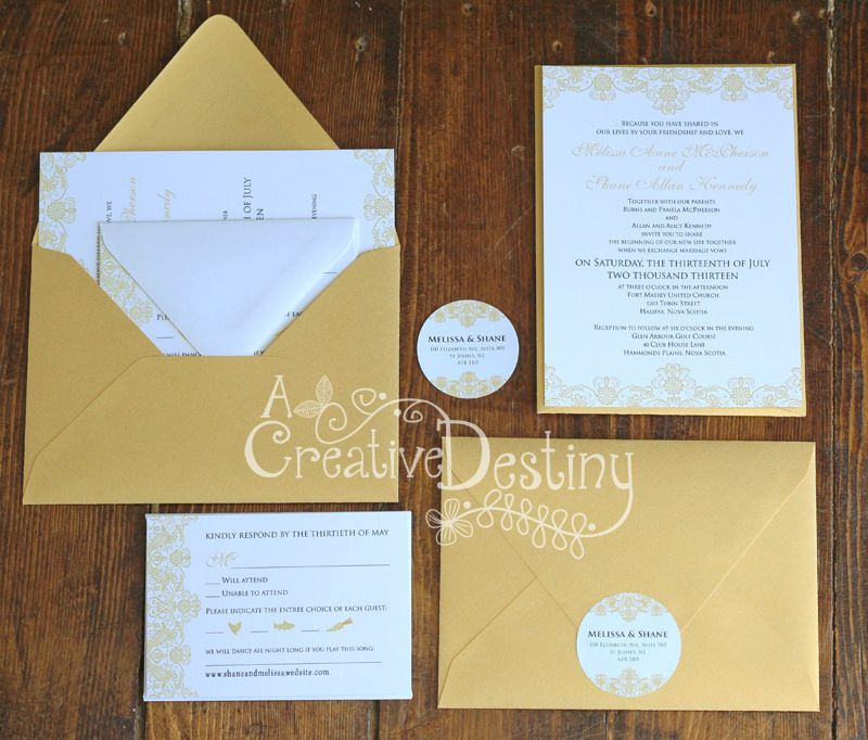 reply to wedding invitation m%0A Gold Wedding Invites  like the reply card and circle sticker