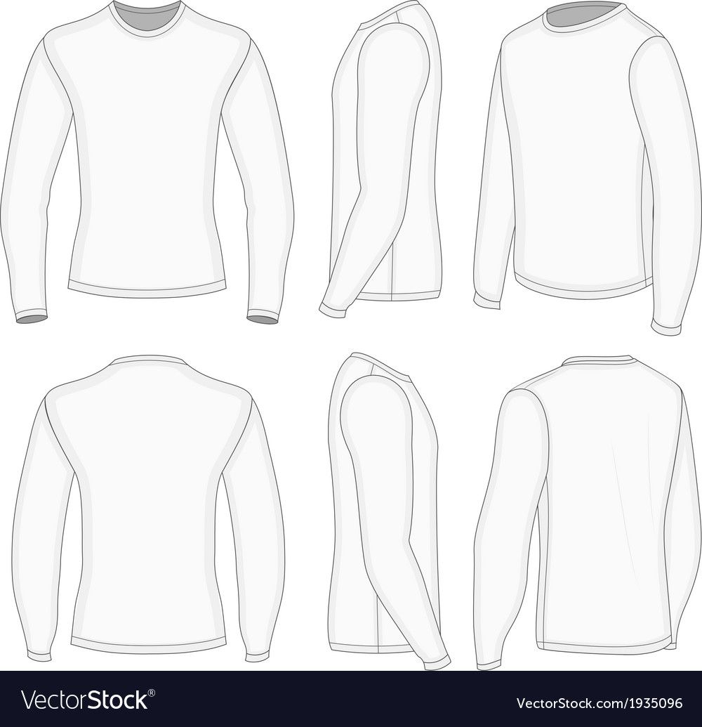 All Six Views Men S White Long Sleeve T Shirt Design Templates Front Back Half Turned And Side Views Vect T Shirt Design Template White Long Sleeve Shirts Long sleeve shirt design template