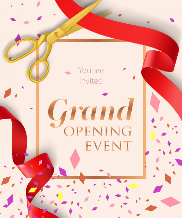 Download Grand Opening Event Lettering With Confetti For Free In 2020 Grand Opening Invitations Event Invitation Design Event Invitation