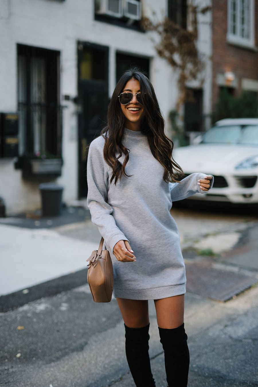 Kayla From Not Your Standard Http Thehautemommie Com Style Sweatshirt Dress Sweatshirt Dress Outfit Mini Dress Casual Dresses Casual Winter [ 1348 x 900 Pixel ]