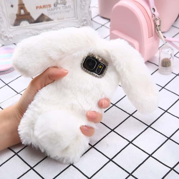 newest 158e2 9618c 3D Cute Soft Fluffy Rabbit Case For Samsung Galaxy S8 S7 S6 edge ...
