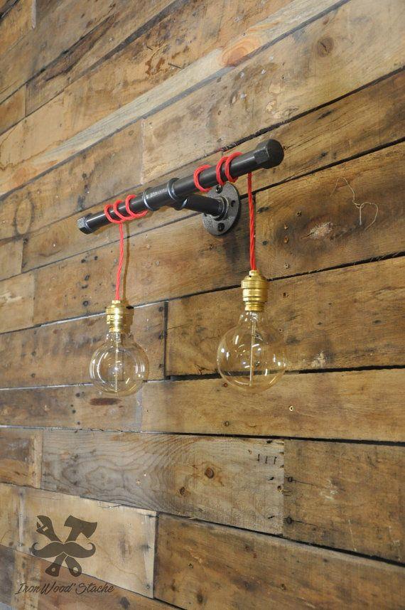 Lampe murale double vintage design industriel - Cache ampoule mural ...