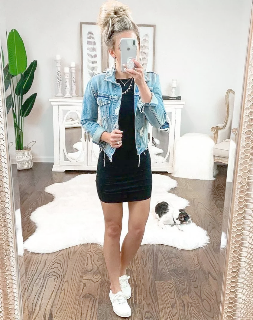 obsessed with this casual  ootd from @christendominique topped off with our @gentlefawn Intrepid Chambray Jacket    lovelulus