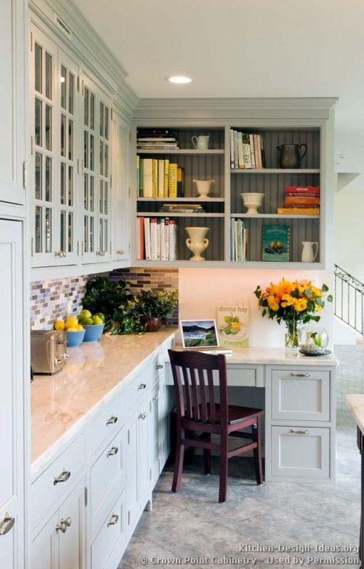 Beautiful kitchen desk... Transitional Kitchen Design with Shaker ... | {Büro küche design 56}