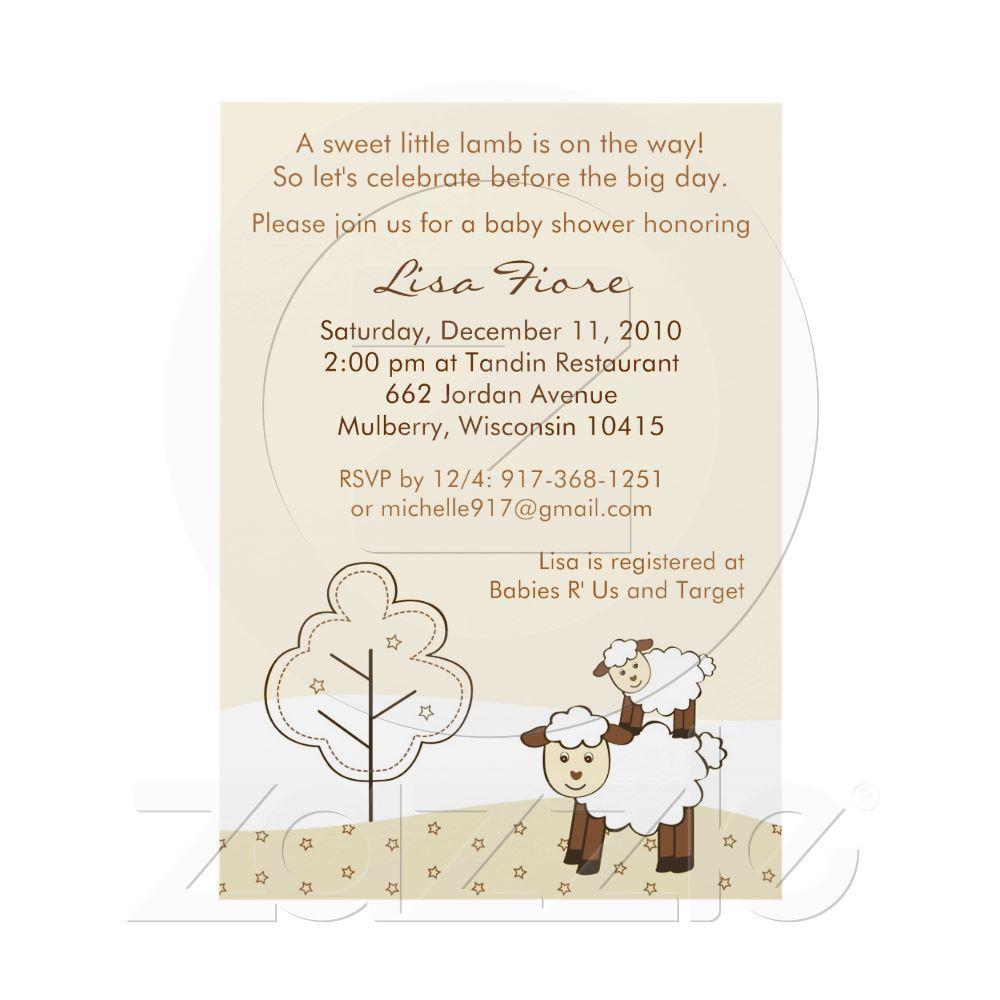 Sweet Little Lamb Baby Shower Invitations | Lamb baby showers ...