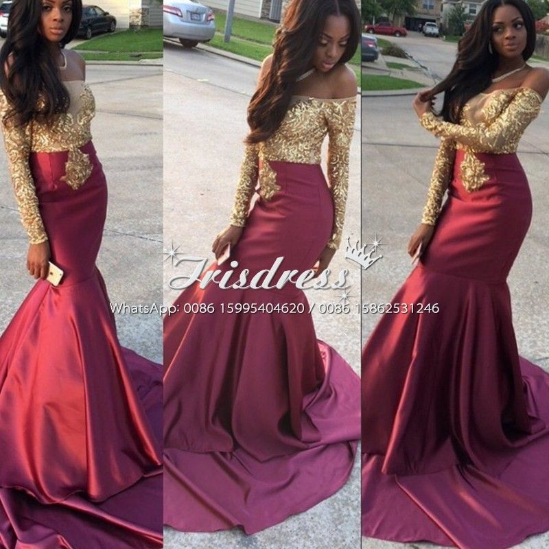 1b28616dbe10 black and gold and burgundy flower girl dresses | Wholesale Sexy Burgundy  Gold Mermaid Prom Dresses with .