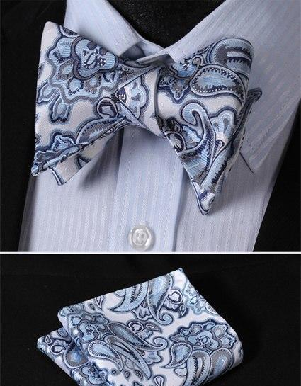 80563a789913c Ftoral 100%Silk Jacquard Woven Men Butterfly Self Bow Tie BowTie ...