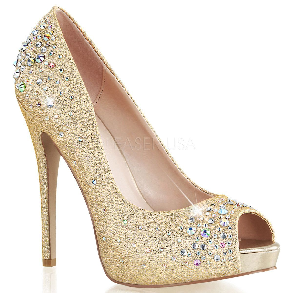 5924256f4cd3 FABULICIOUS HEIRESS-22R Nude Shimmering Fabric Peep Toe Pumps ...