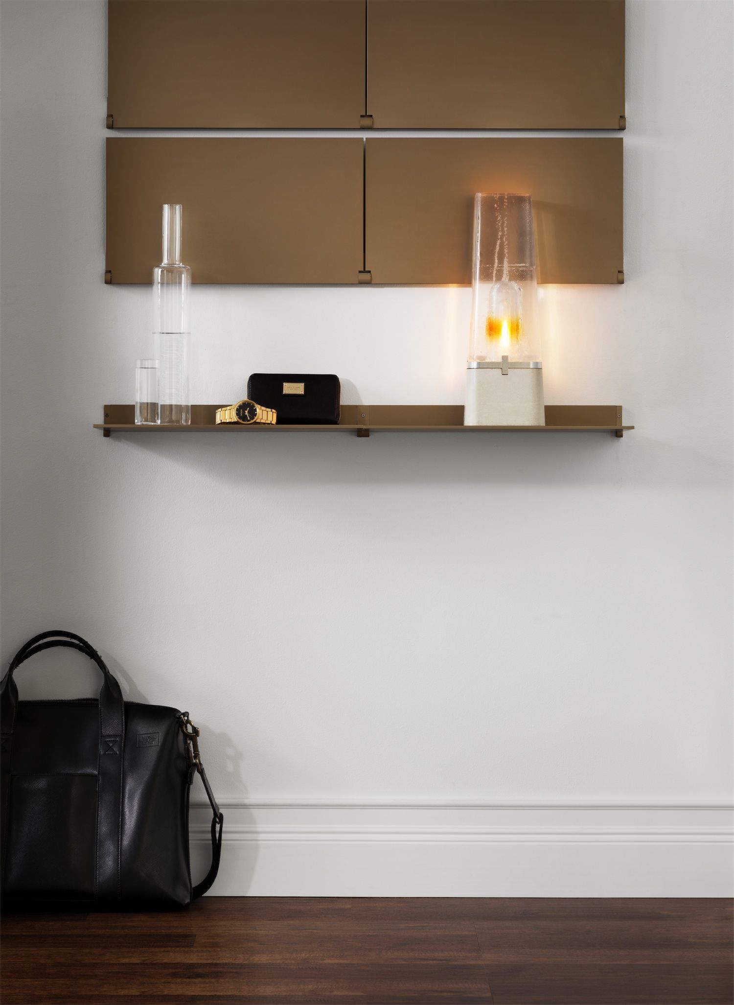 Hanging bookshelf design ideas that will revamp your home pennyroach - Riveli Shelving Champaign Gold Anodized Aluminum Shelf Featuring Individually Pivoting Shelves