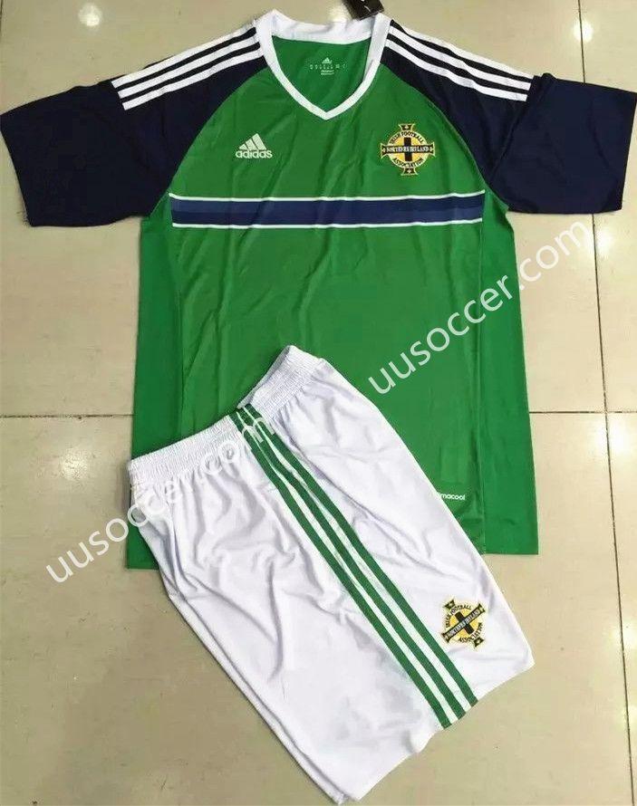 c0758d36245 2016 European Cup Northern Ireland Home Green Kids Youth Soccer Uniform  Uniformes De Fútbol