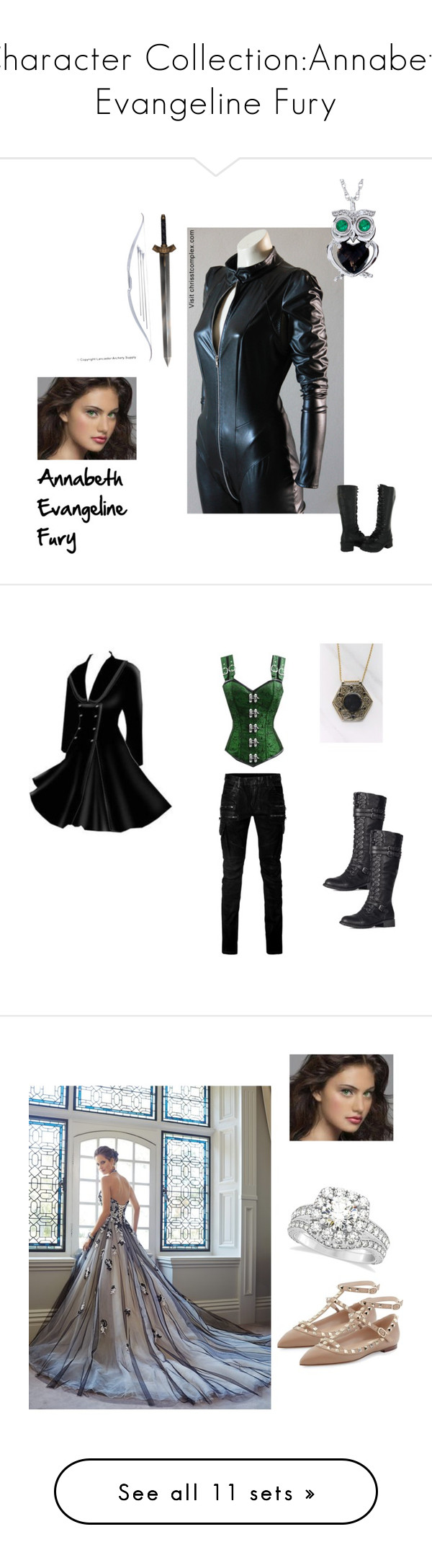 """Character Collection:Annabeth Evangeline Fury"" by crimsoncapo ❤ liked on Polyvore featuring art, Balmain, Vanessa Mooney, Valentino, Allurez, Masquerade, Christian Louboutin, mcmasquerade, Capezio and Dsquared2"