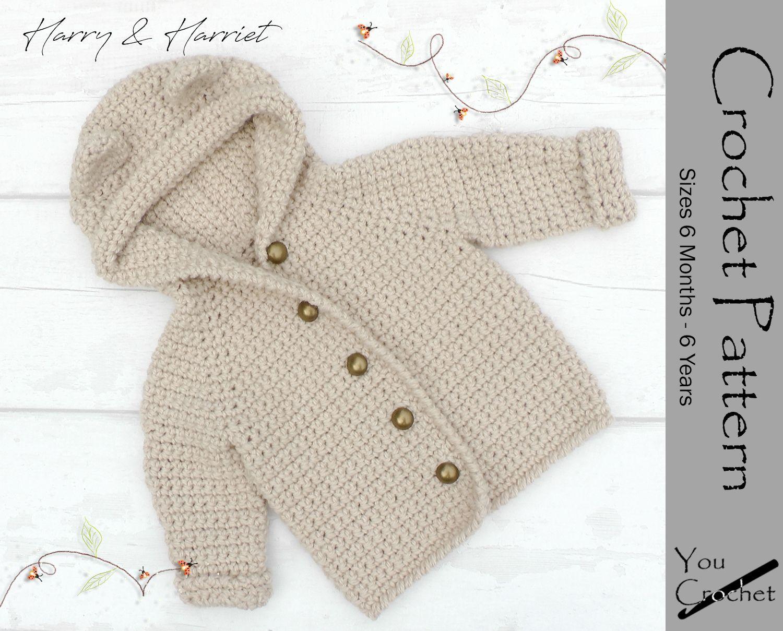 Crochet Pattern 5 Sizes Harry Amp Harriet Bear Hooded Jacket