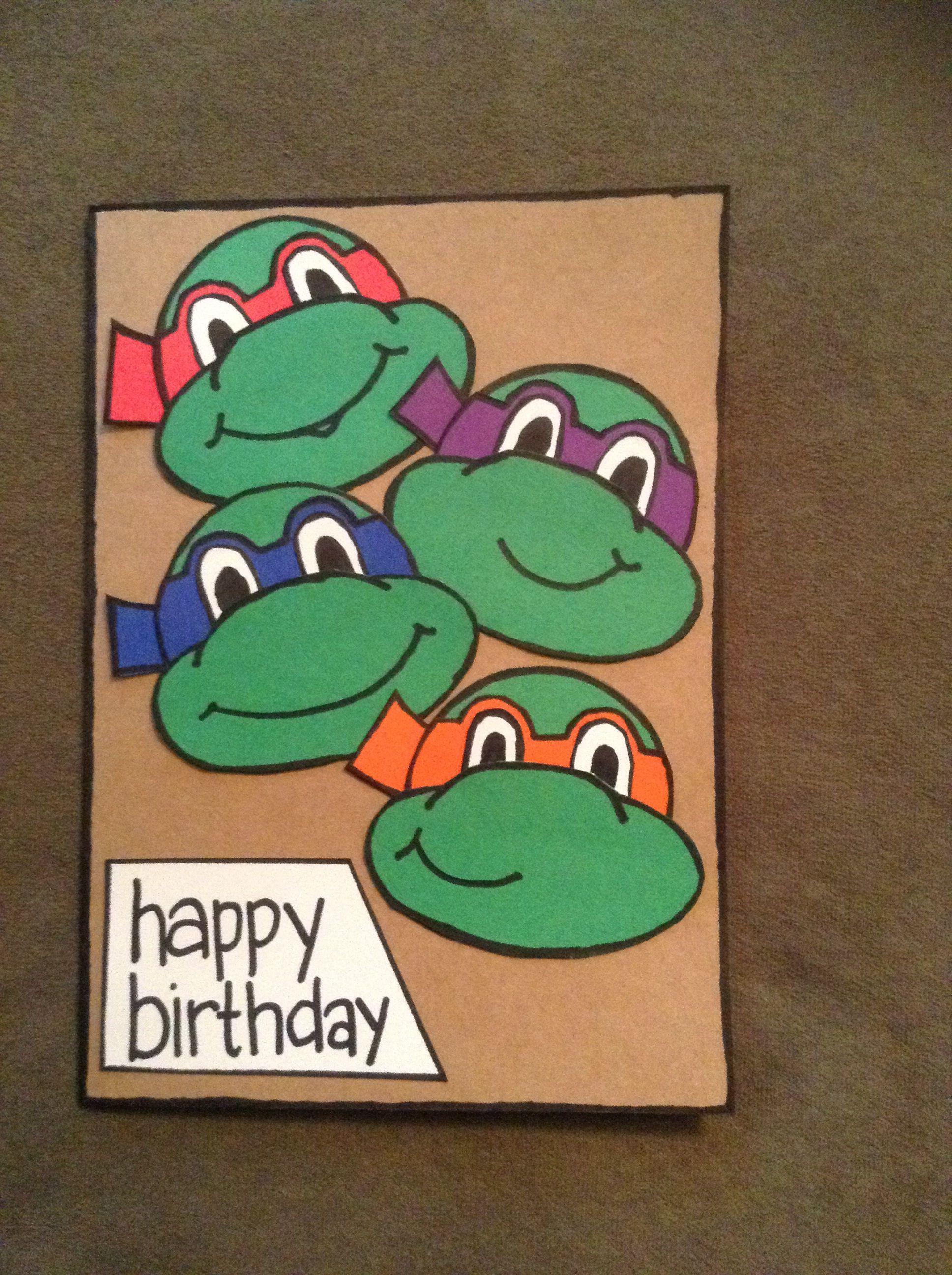 Teenage Mutant Ninja Turtles Birthday Card Themed Cards Kids Birthday Cards Boy Cards