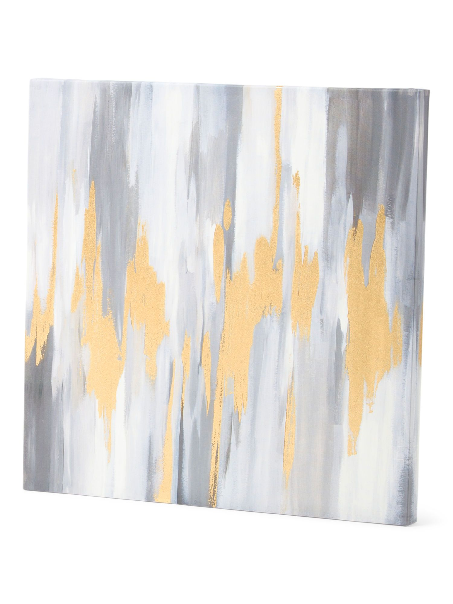 Gold Foil Wall Art 24x24 gray abstract wall art with gold foil - wall decor - t.j.