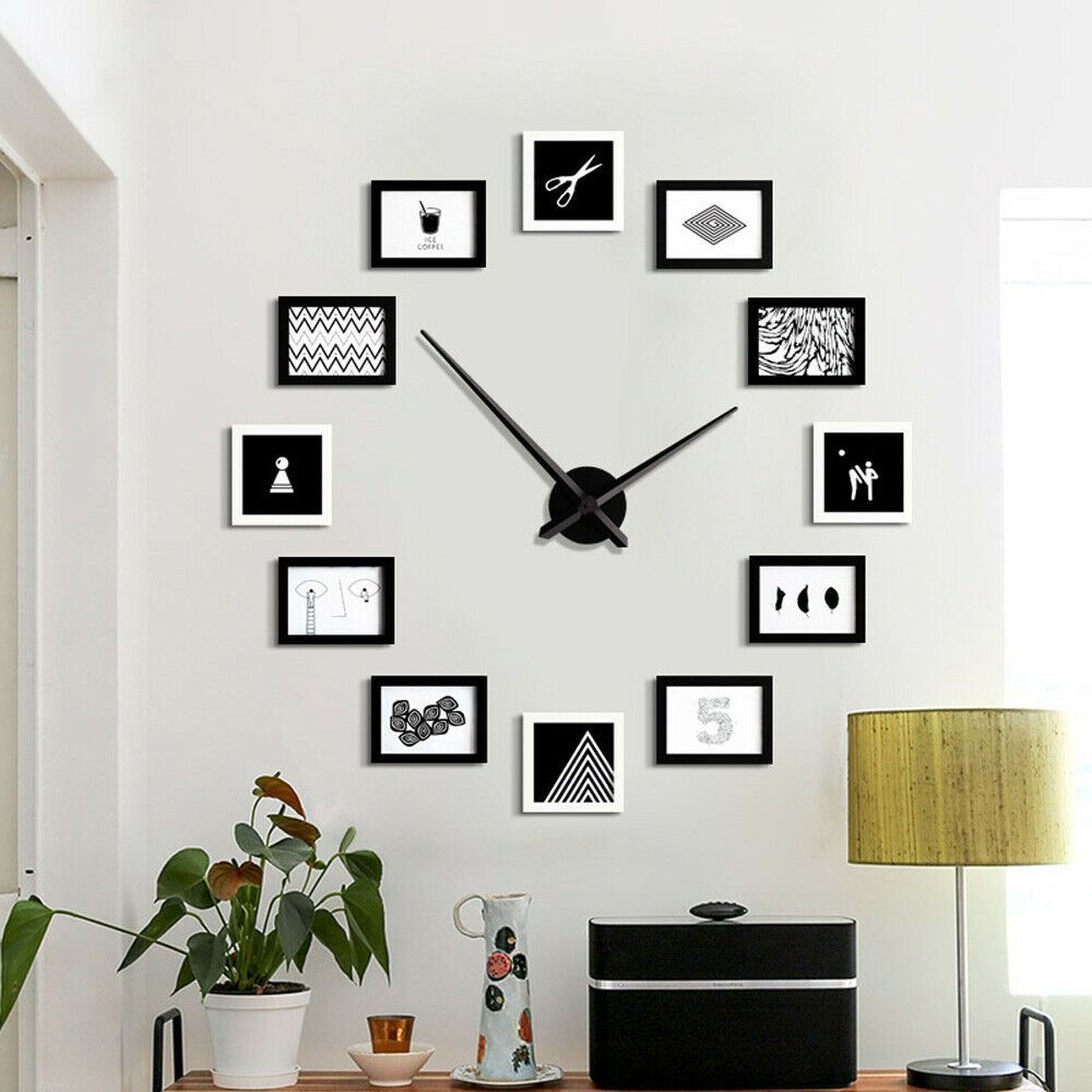 Wall Clock 12 Picture Photo Frame Timer Display Modern Design Hanging Wall Diy Wood Clock Ideas Of Wood Clo Photo Wall Clocks Wall Clock Picture Frame Wall