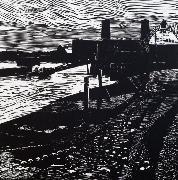 Greenwich Pier Linocut Print | Stephen Robson | Paper size ...