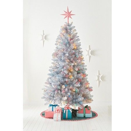 7ft Pre Lit Artificial Christmas Tree Silver Tinsel Alberta Spruce  - 7 Ft Artificial Christmas Trees