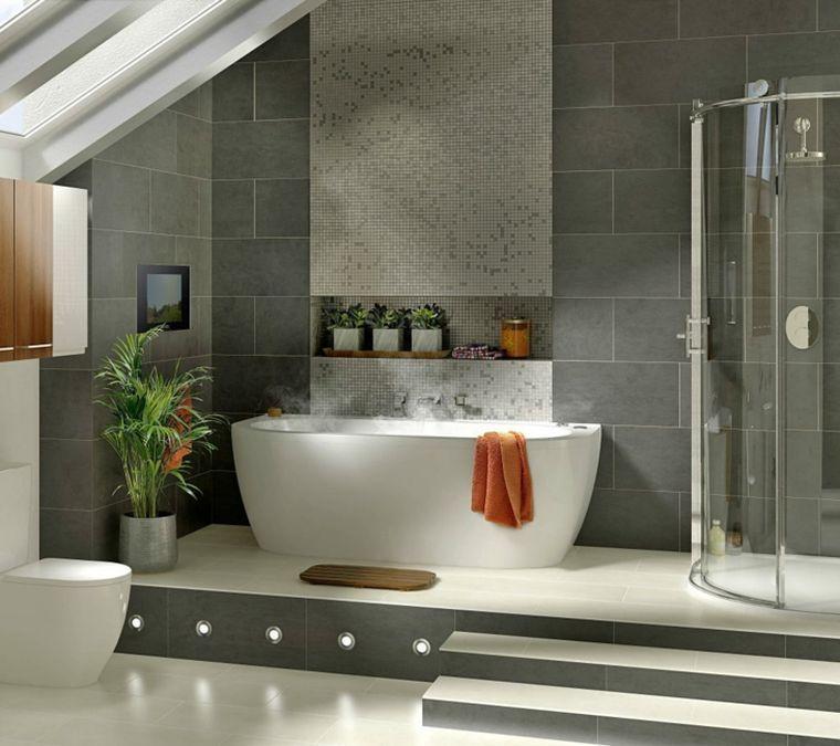 Carrelage salle de bain grise et bois en 37 idées de déco