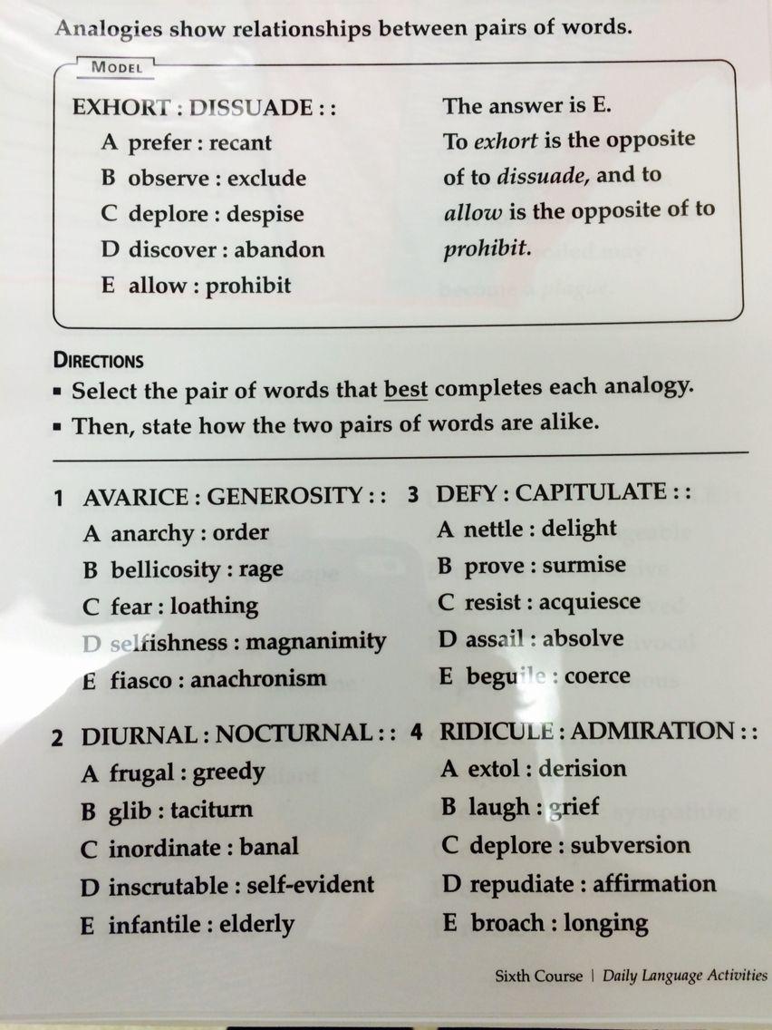 1st Eng 3 4 Sat Word Analogies Word Analogies Ela Vocabulary Words [ 1136 x 852 Pixel ]