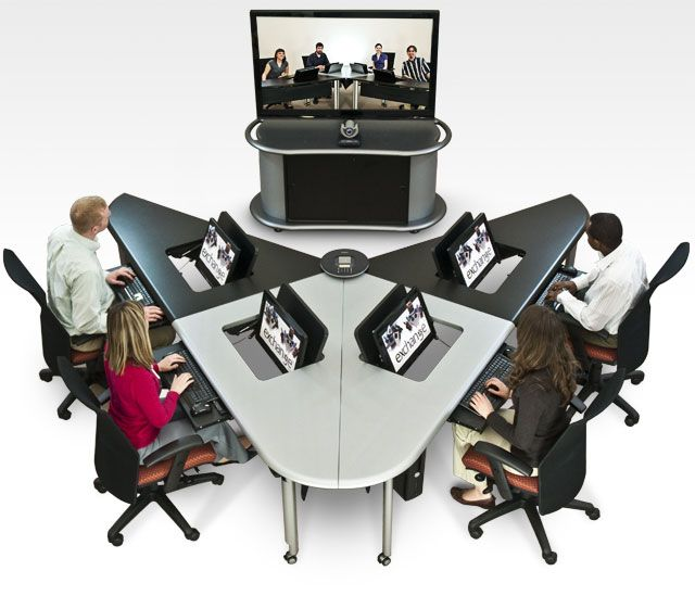 Collaborative Student Desks ~ Video conferencing made easy with