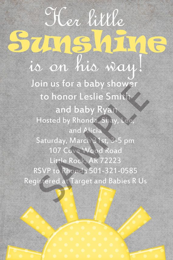 You Are My Sunshine Baby Shower Invitation 4x6 by PrepMyParty ...