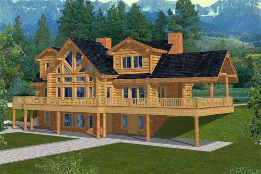 luxury log cabin home with beautiful detailing. house plan# 132