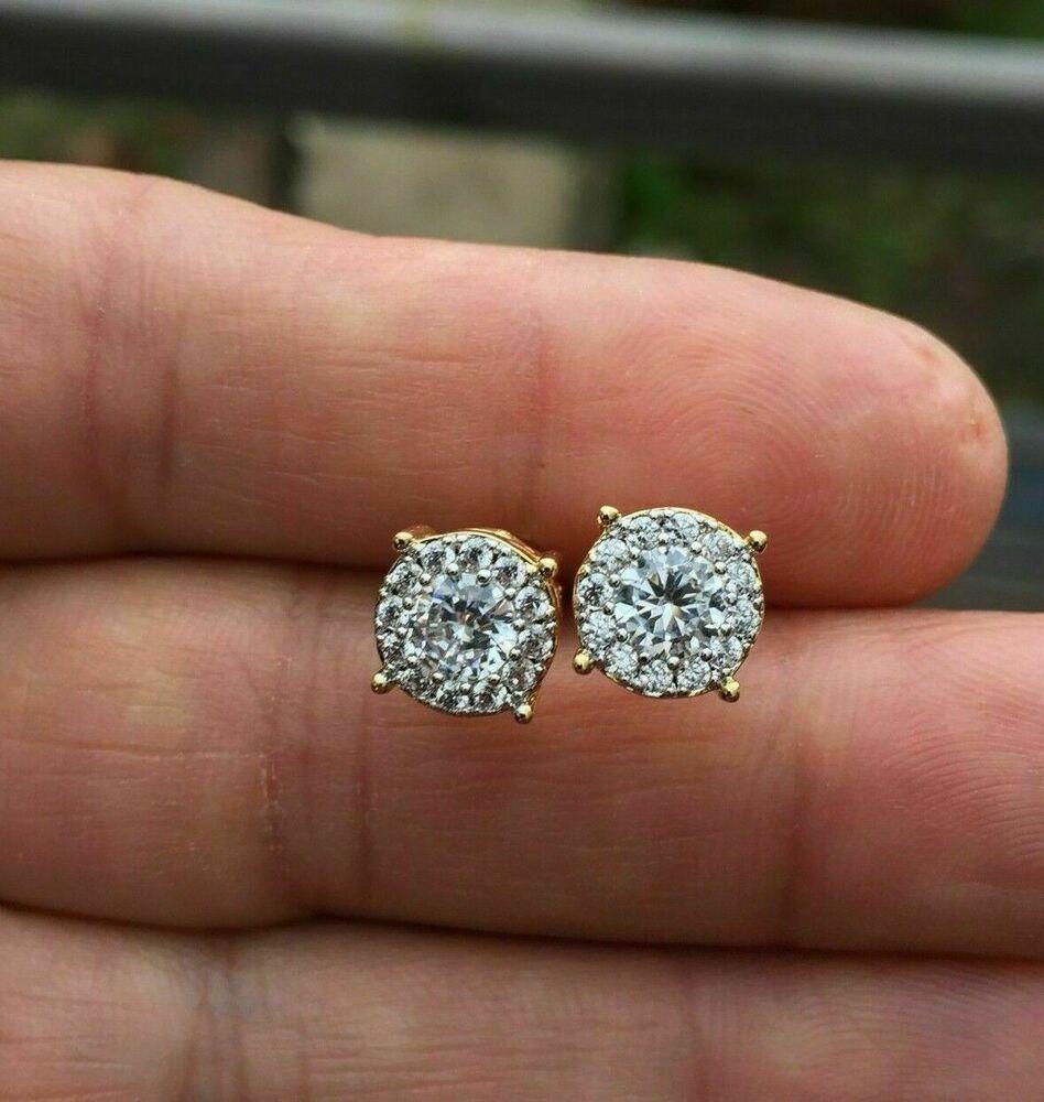 1.20Ct Round Cut Diamond Heart Shape Halo Stud Earrings In 14K White Gold Finish