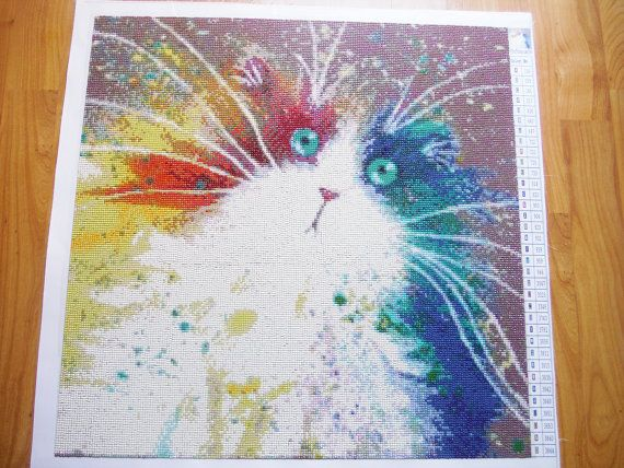 Home Decorative Item Painting Colorful Diamond Painting Cat Toy Whiskers Mosaic  Cats Home And .