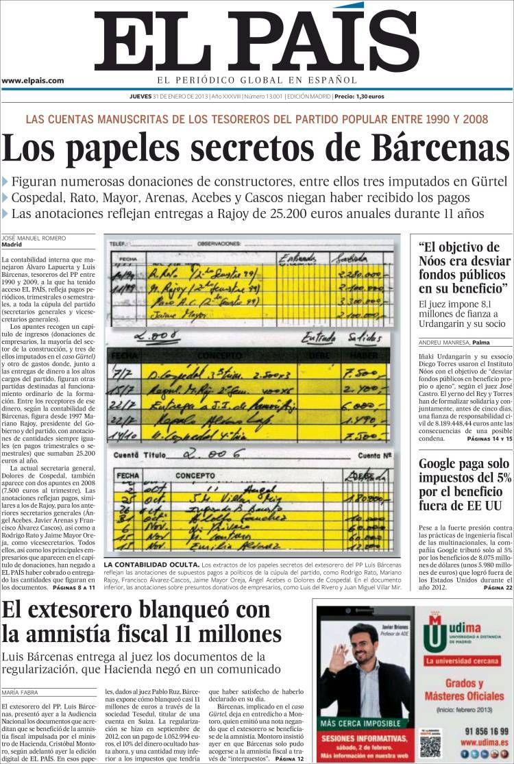 Portada de El País 31.01.2013