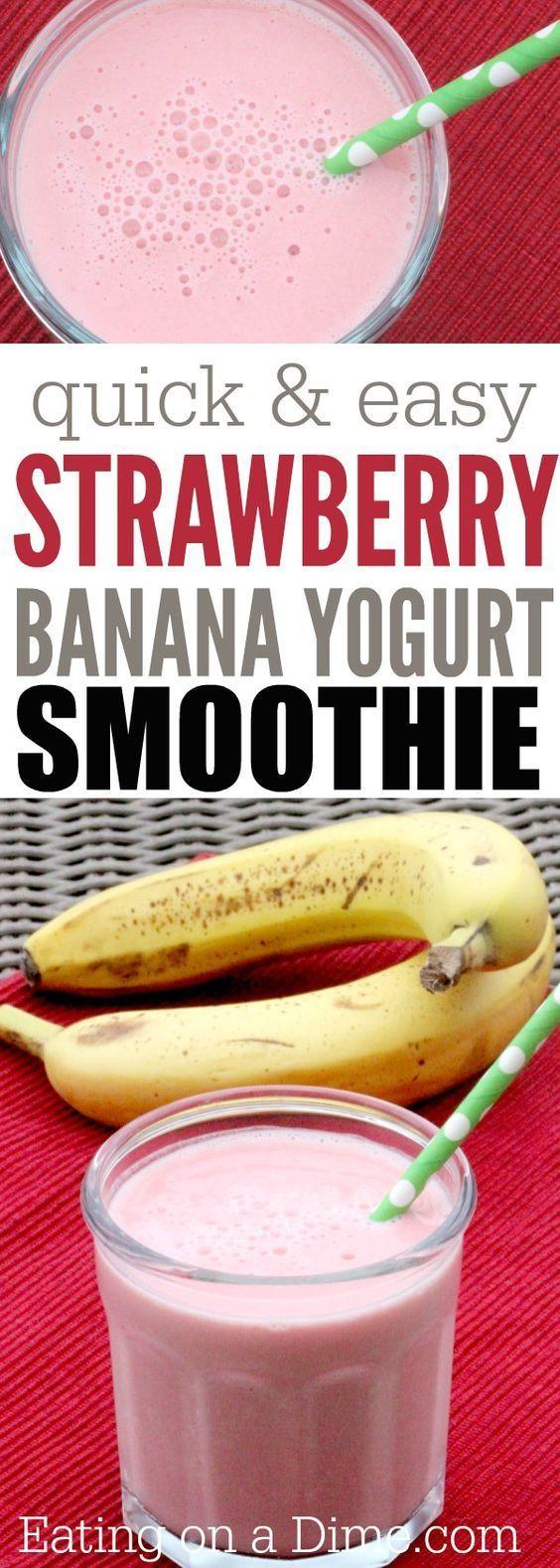 Yogurt Strawberry Banana Smoothie Recipe - Eating on a Dime