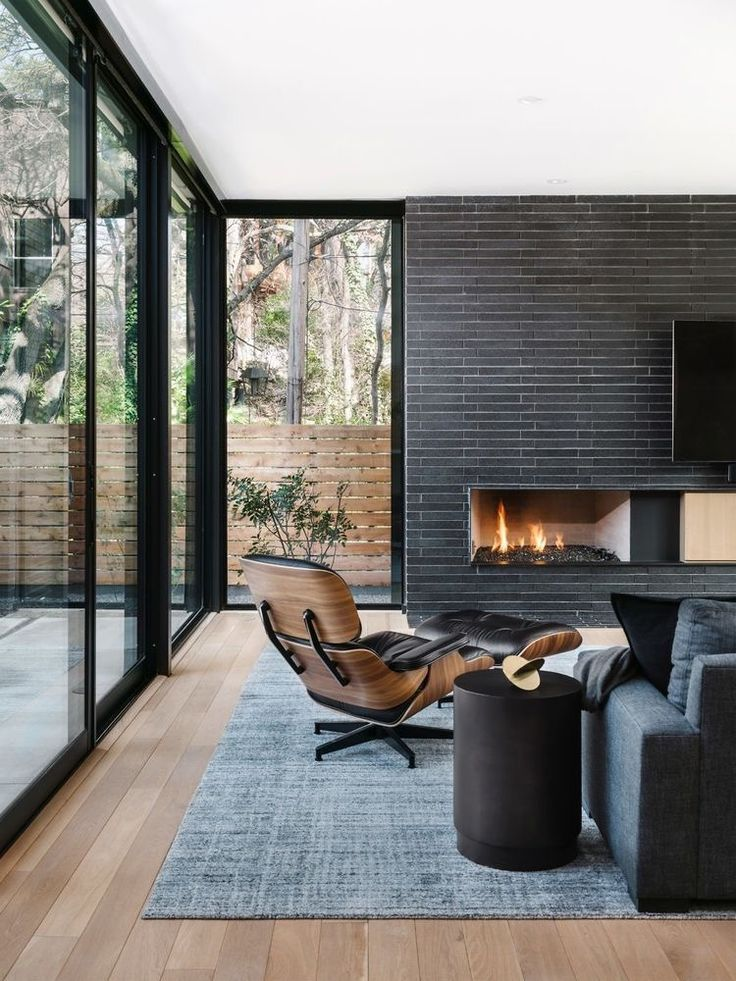 Photo of #moderndecor flooring, fireplace, windows – decor