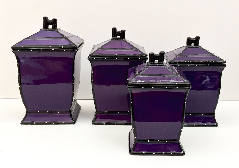 Beau Purple Canister Set 4 PC Ceramic Coffee Sugar Flour Tea Kitchen Containers  New | EBay