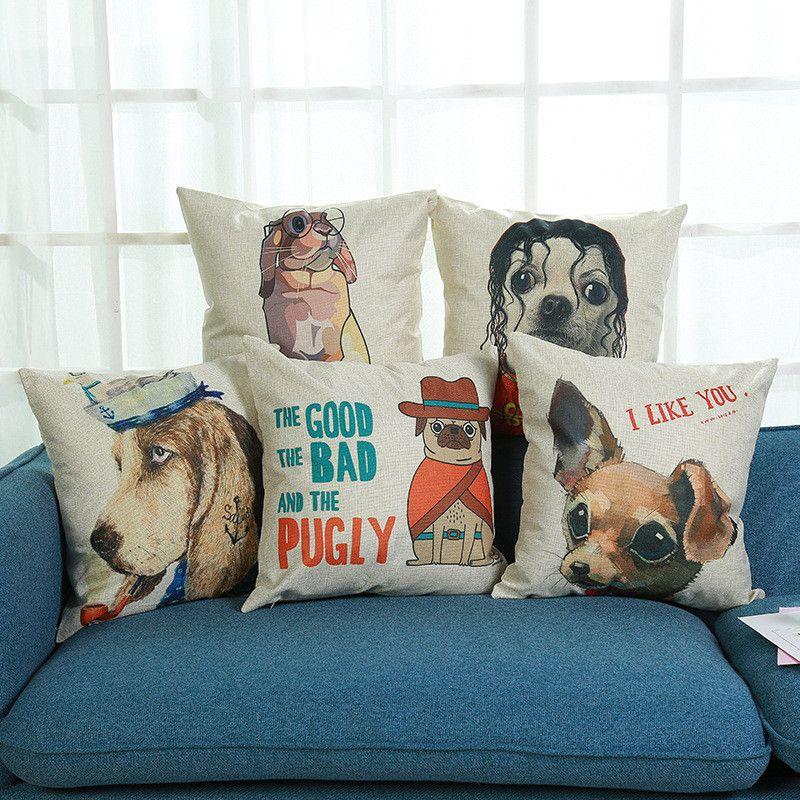 Cartoon Dog Cotton Linen Pillow Case Throw Cushion Cover Sofa Home Decoration