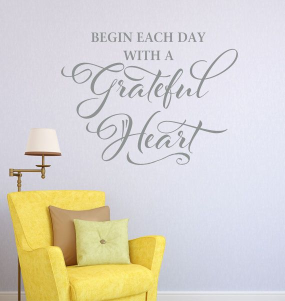 Wall decor vinyl lettering begin each day with a grateful heart wall decal vinyl by lucylews