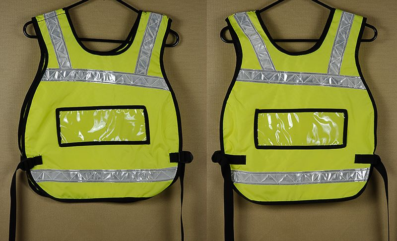 Florescent yellow pull-over safety reflective vest with
