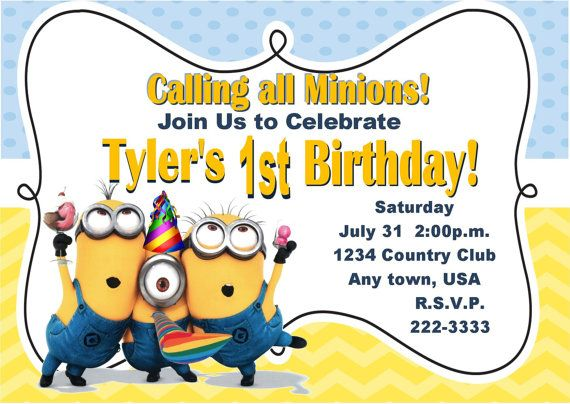 Despicable me inspired invitation minions invitation 1st birthday despicable me inspired invitation minions invitation 1st birthday ideas custom invitations despicable filmwisefo Gallery