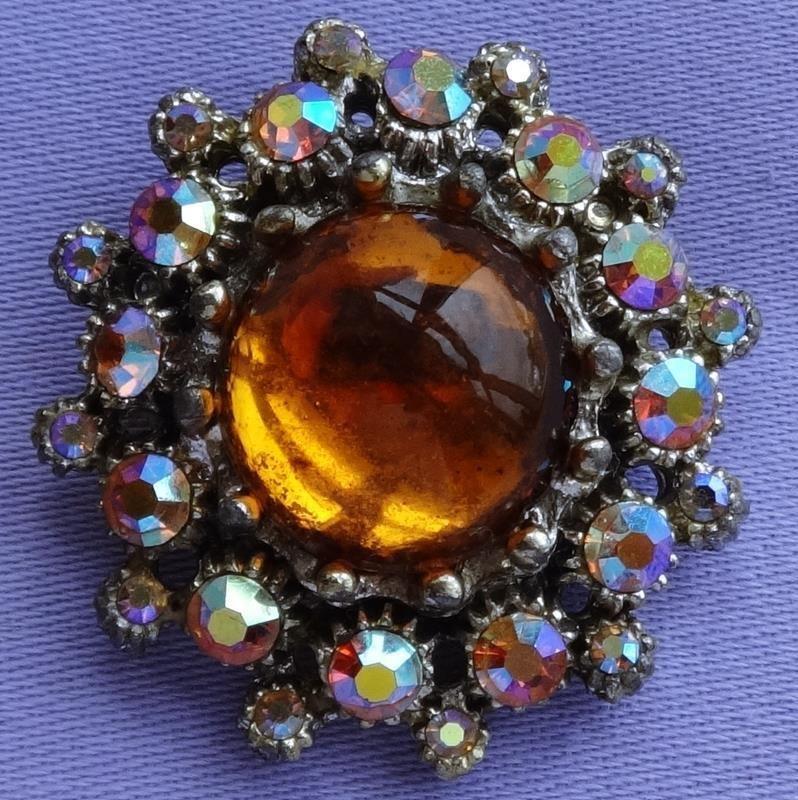 Vintage amber aurora borealis glass stone flower brooch
